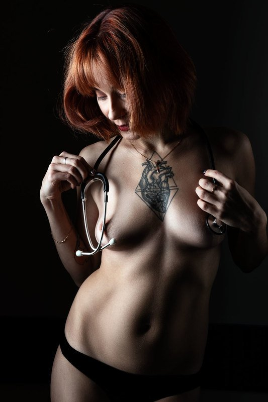 Stethoscope, Healthcare And Medicine, Lifestyles, Indoors, Standing, Beauty, Medical Exam, Care, Sensuality, lady, red hair, portrait, Anticipation, ***photo preview
