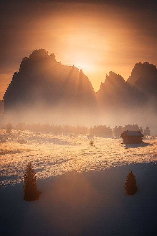 dolomity,italy,landscape,sunrise,mountain,snow,winter,autumn,sun,rays  alpe di siusi  фото превью