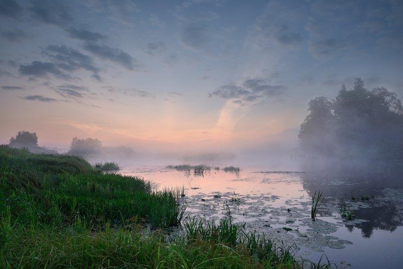 утро,рассвет,река,небо,облака,туман,отражение светаетphoto preview