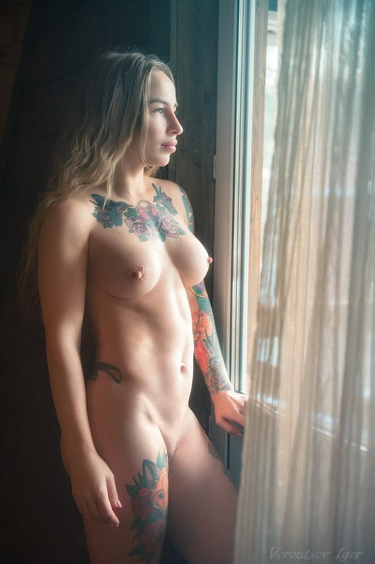 ню, девушка, грудь, обнажённая, красивая, голая, окно photo preview