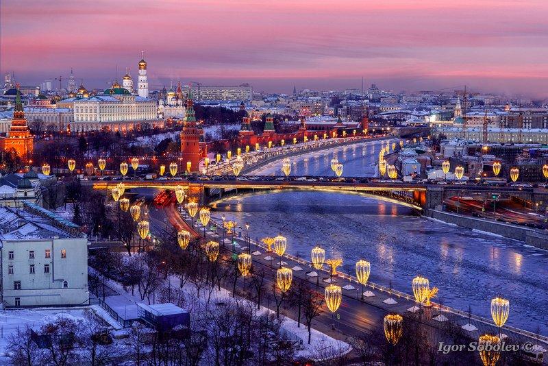 закат, зима, кремль, москва Московский кремль на закатеphoto preview