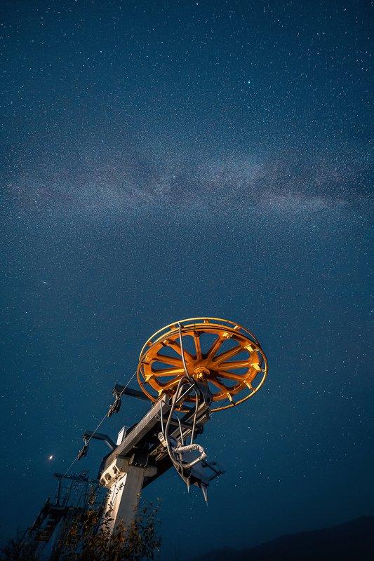 канатная дорога, подъемник, сочи, ночь, звезды, night, stars, sochi Спящий подъемникphoto preview