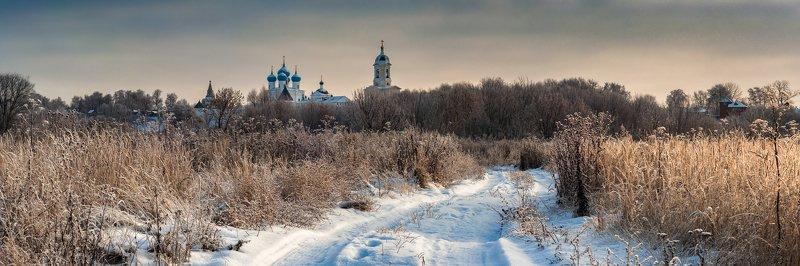 снег. россия. природа. подмосковье. пейзаж. монастырь. зима Зимним утром в Серпуховеphoto preview