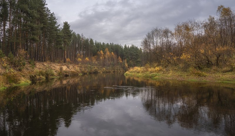 река осень пасмурный день Река Линдаphoto preview