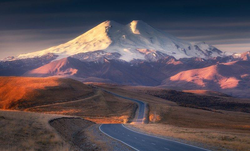 эльбрус, кавказ, закат, гора, природа, elbrus, mountain Пробуждение великанаphoto preview
