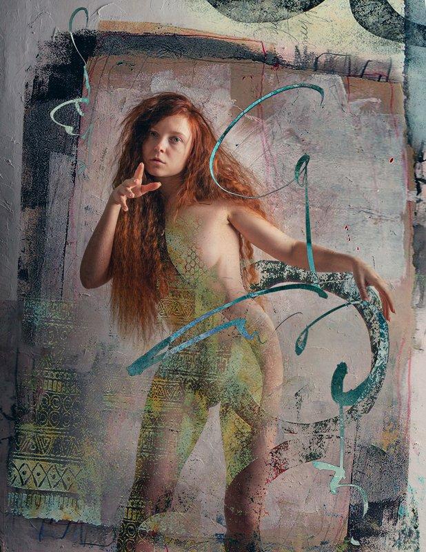 потрет, женский портрет, каллиграфия, арт, артпортрет Каллиграфияphoto preview
