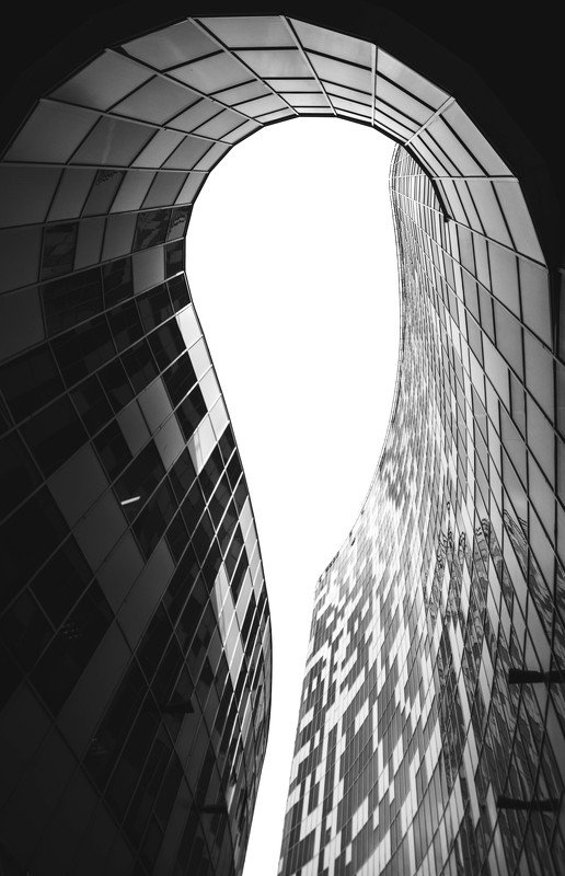 architecture, dark, line, sky, facade, modern, urban, black, white, city, Moscow, Russia Колодец светаphoto preview