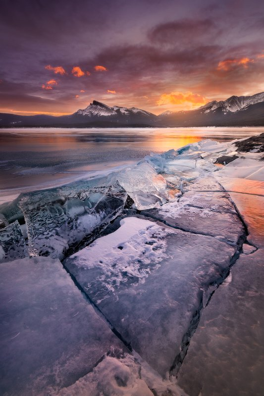 abraham, lake, rockies, sunrise ЛЕДphoto preview