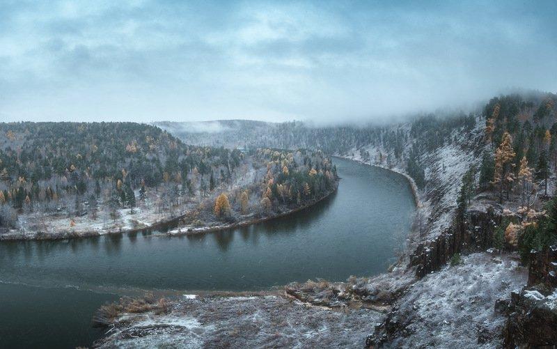 россия, иркутская область, нижнеудинск, водопад, тайга, рассвет, природа, пейзаж, снег, река, осень, ук, уда, каньон Удинские изгибыphoto preview