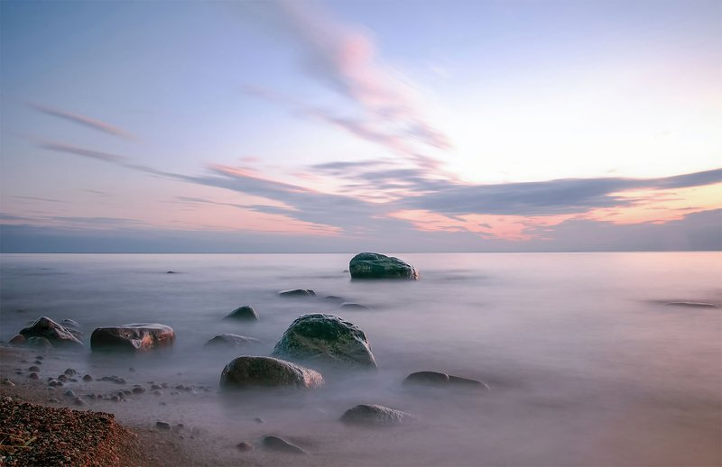sea, sunset, stones, sky, long exposition Sea stonesphoto preview