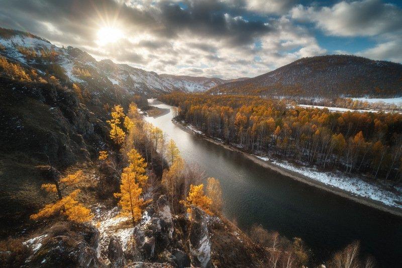 россия, хакасия, тропа предков, степь, горы, лесостепь, рассвет, природа, пейзаж, восход солнца, осень, лиственница, река, белый июс, снег Тропа предковphoto preview