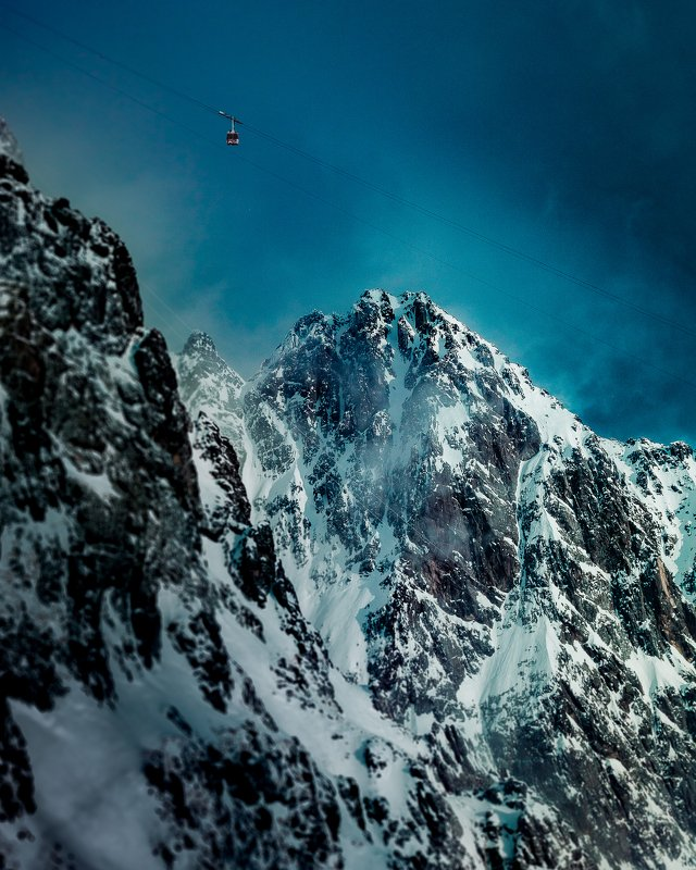 mountain, cablecar, winter, color, slovakia, tatras,  Wall of famephoto preview