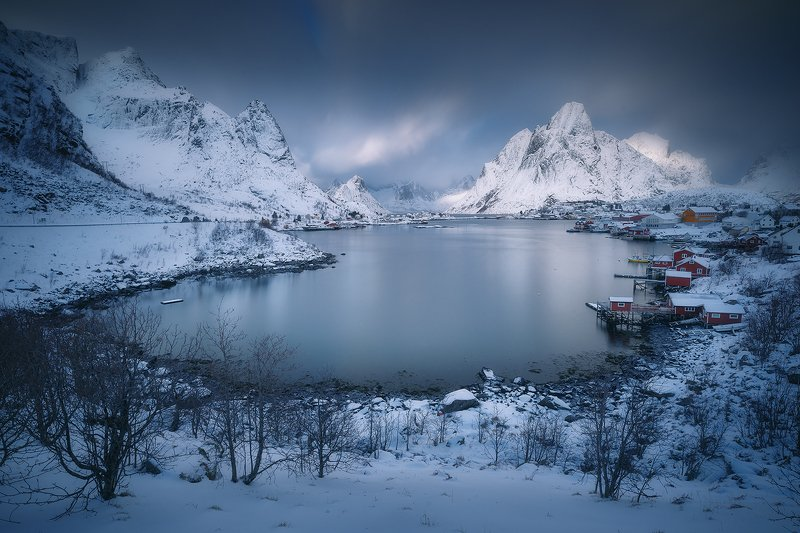 reine, norway, landsape, winter, snow, lofoten, long, exposure, blue,  reine фото превью