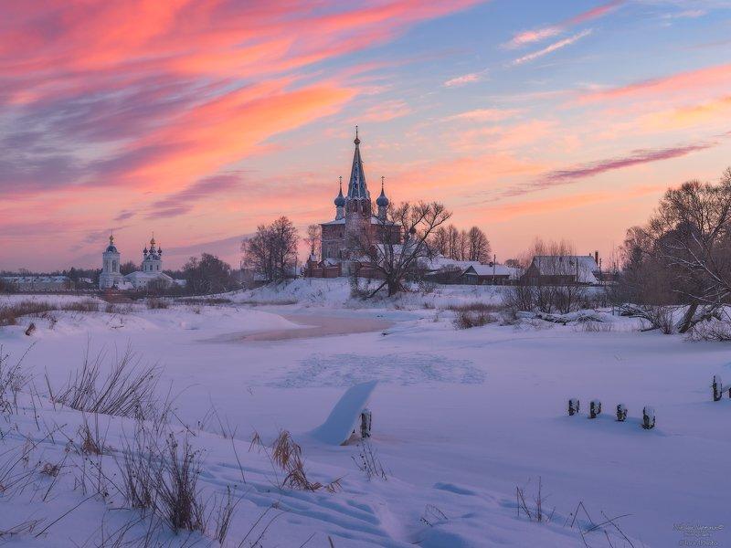 дунилово, теза, ивановская область, рассвет, русская зима, монастыри, золотое кольцо \