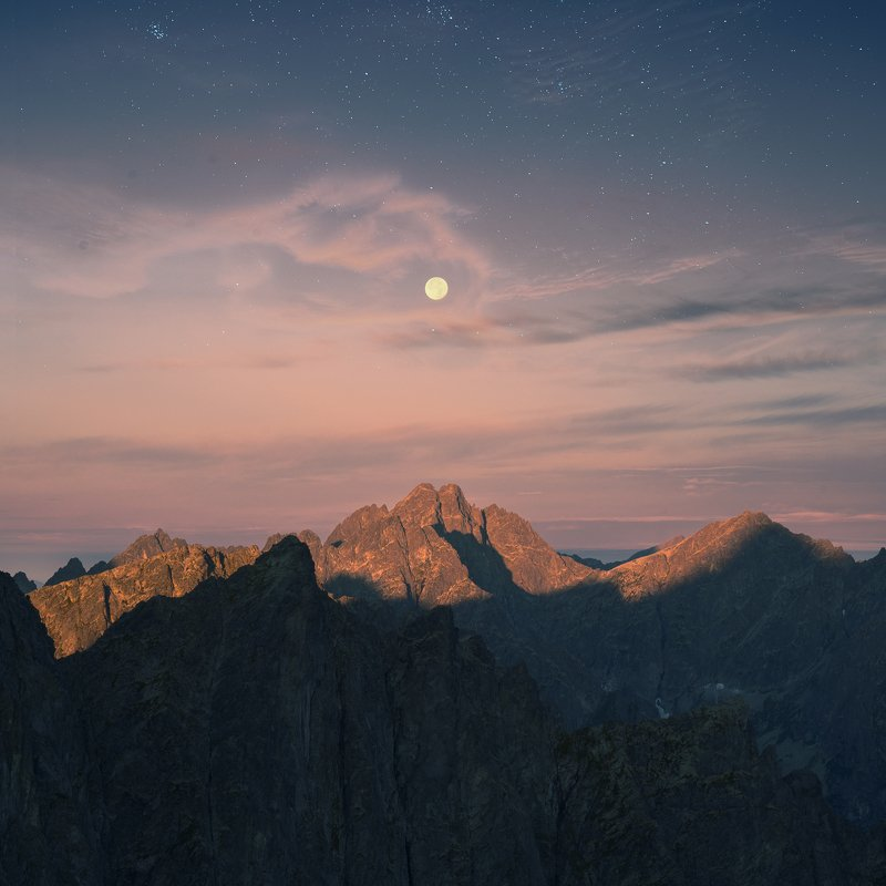 Slovakia, mountains, moon, stars, conceptual, landscape Starry sunrisephoto preview