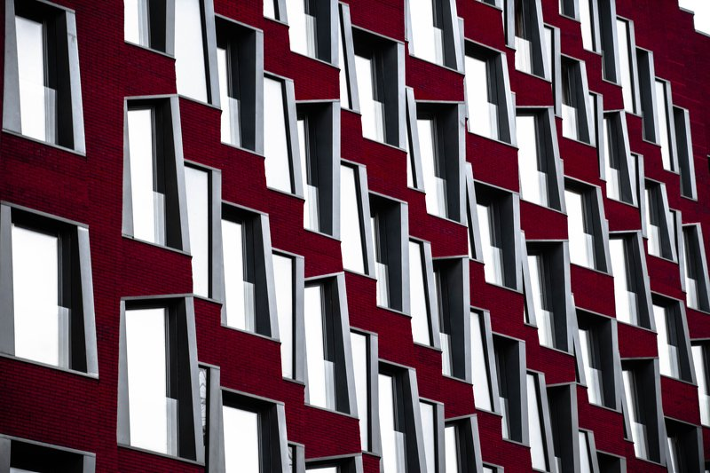 architecture, modern, urban, red, facade, pattern, abstarct, day, windows, Moscow, Russia Имплицитный порядокphoto preview