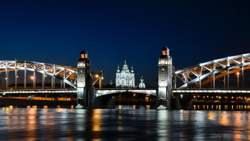 спб, архитектура, питер, ночь, город, Смольный собор.photo preview