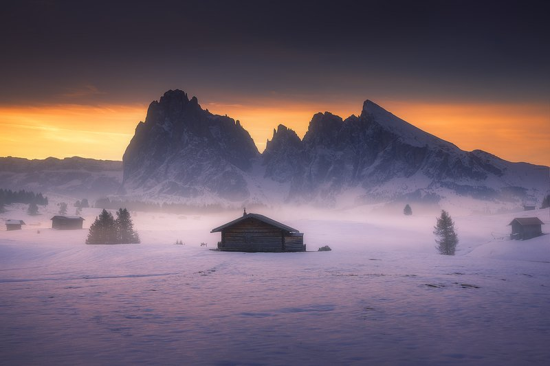 dolomiti, italy, landscape, winter, autumn, snow, sunrise, mountain, house,  alpe di siusi фото превью