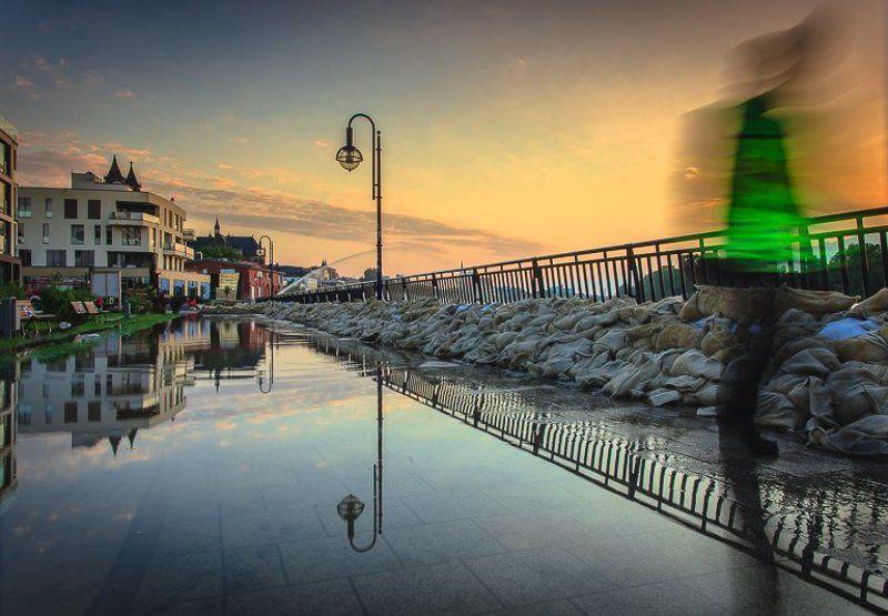 германия, магдебург, наводнение, восход, разводной, мост, эльба, река Наводнение 2013 - Magdeburg-Altstadtphoto preview