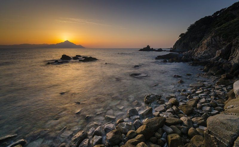 Mount Athos and sunrise light in \