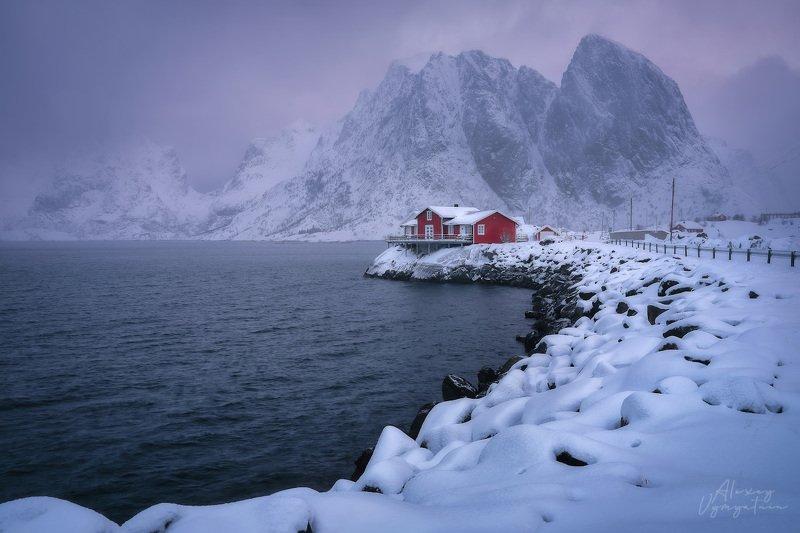 norway, lofoten, islands, winter, water, mountains, outdoor, landscape Молоко с клубникойphoto preview