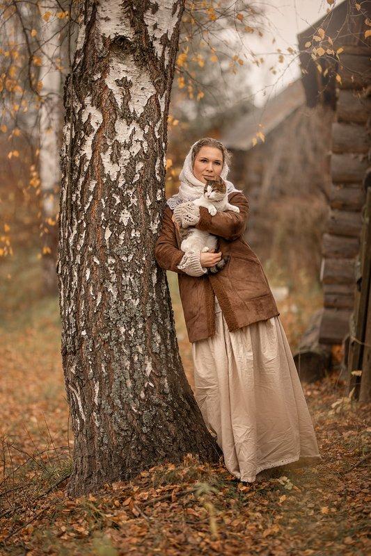 деревня,  животные, кошка, кот, осень, девушка, женщина, женский портрет Тихая жизньphoto preview