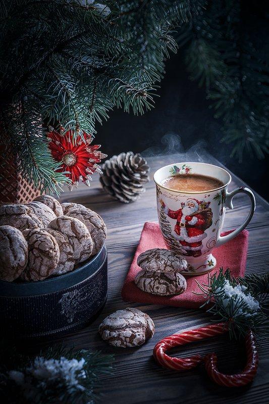 какао, печенье, шоколад, новый год, рождество, фудфото Шоколадное настроение фото превью