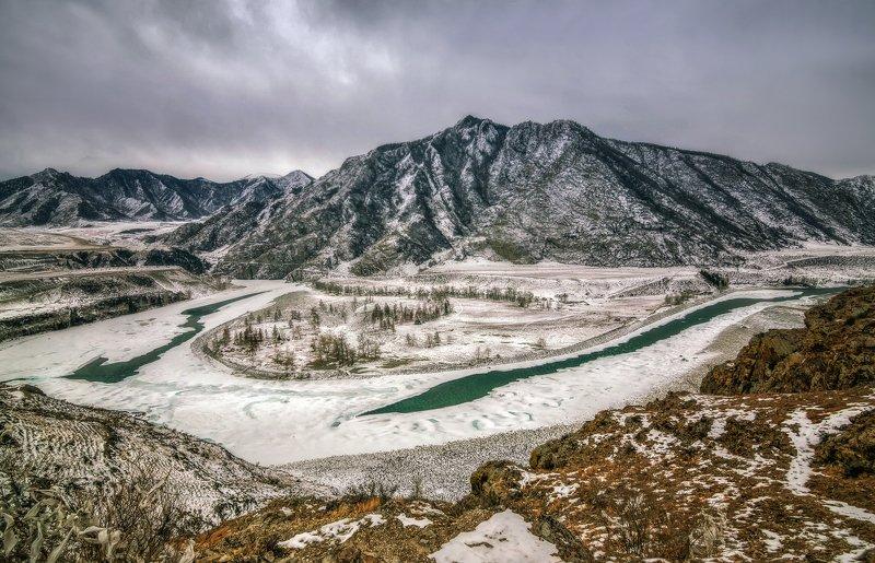горный алтай,зима,река катунь,река чуя,слияние Зима на Чуй-Оозы...photo preview