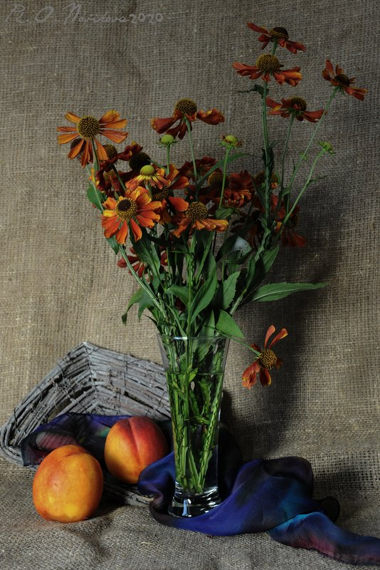 цветы,бокал,персики,платок,корзинка ***photo preview