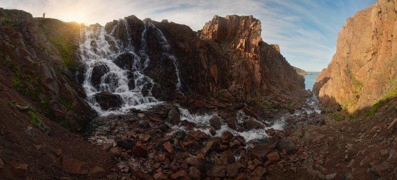 териберка, баренцево море, кольский, батарейский водопад, малое батарейское Батарейский водопадphoto preview
