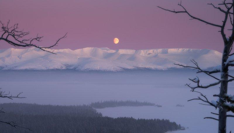 пейзаж,луна,хибины,россия,кольский,север Восход луны над Хибинамиphoto preview