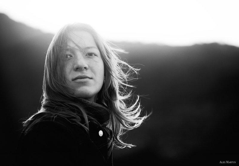 девушка, ветер, свет, ясность, романтика Ветерphoto preview