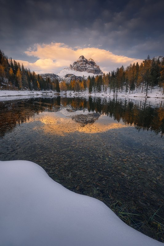 lago, antorno, dolomiti, italy, mountain, cloud, reflection, lake, winter, tree,  lago antorno  фото превью