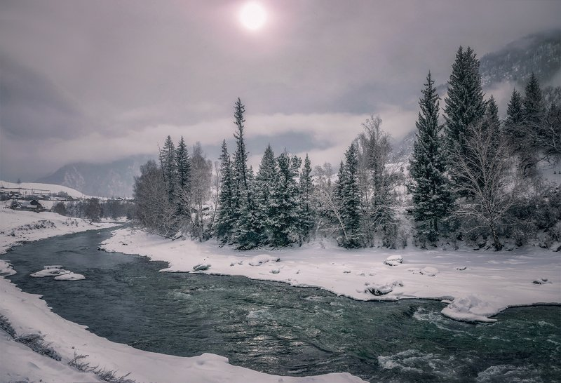 горный алтай,зима,река чуя,пасмурно,снег Зимняя Чуя...photo preview