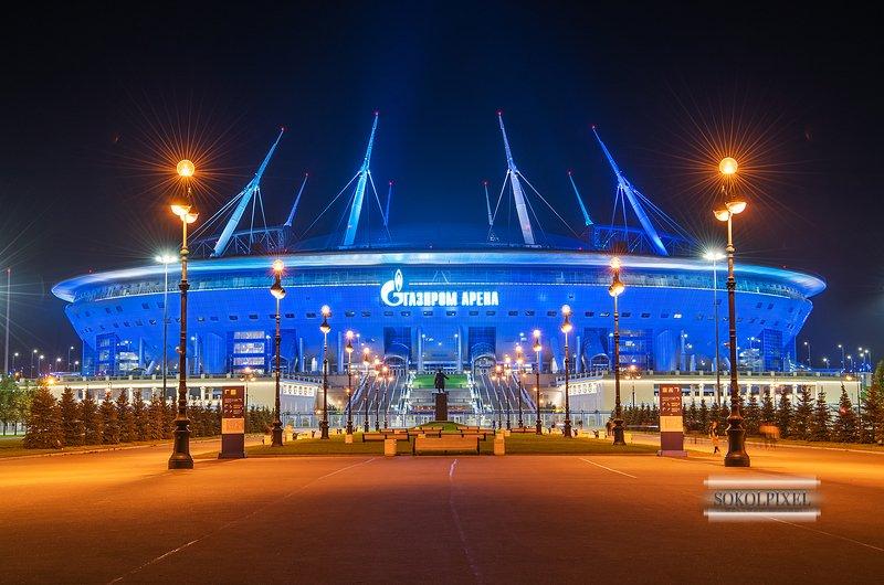 санкт-петербург, газпром арена,осень ,ночь, огни ночного города Газпром Аренаphoto preview
