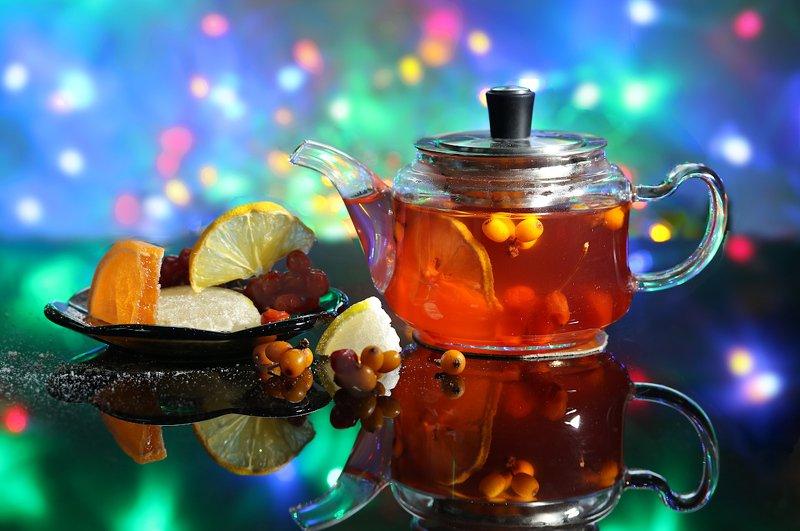 натюрморт, чай, праздник, новый год, огоньки Новогодний чайphoto preview