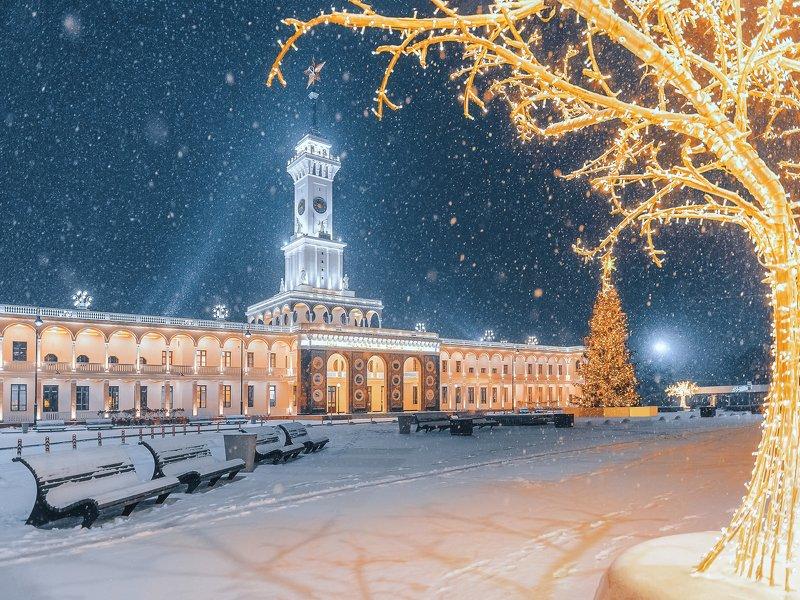 ночь, новый год, снег, winter, snow, new year, night, иллюминация Северный Речной вокзалphoto preview