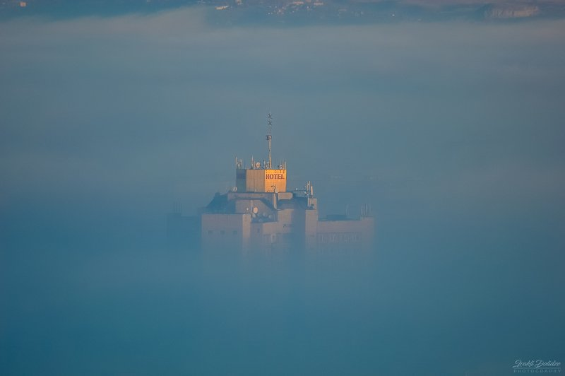fog, hotel, landscape, city, sunrise, sun, sunlight, travel, zoom, over clouds Foggy dayphoto preview