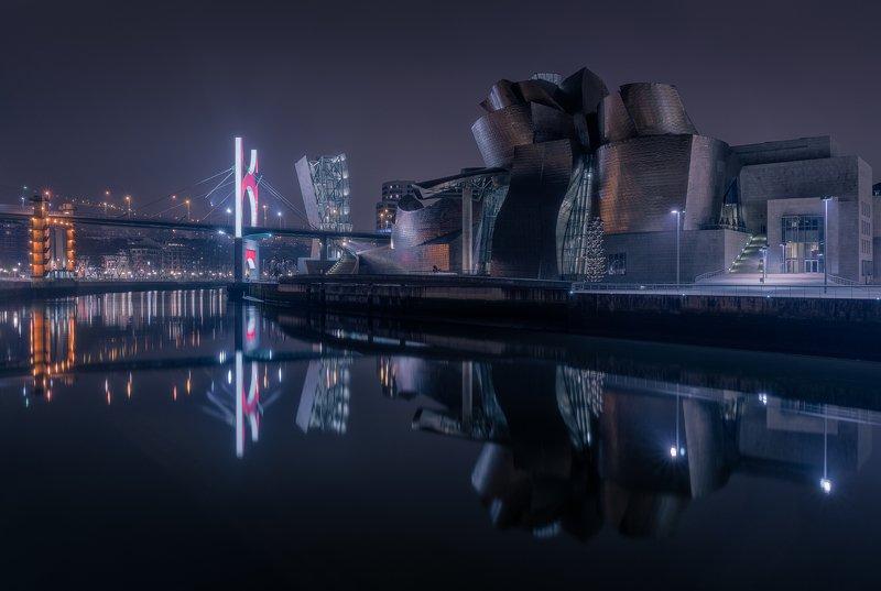 бильбао, гуггенхайм, испания, ночная фотография, фото, ночь, длинная выдержка Музей Гуггенхаймаphoto preview