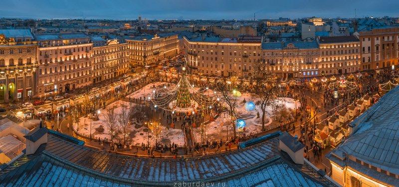 россия, петербург, зима, новый год, вечер Манежная площадь фото превью