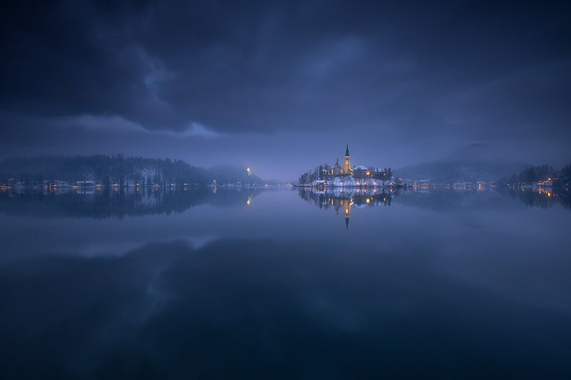 bled, slovenia, landscape, winter, snow, reflection, water, sky, clouds  bled фото превью