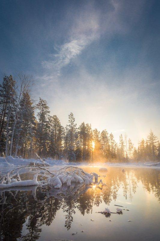лес вода мороз закат урал снег солнце Морозилоphoto preview