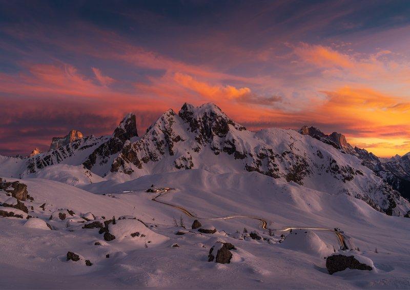 пассо джау, доломиты, италия, снег, закат, sunset, dolomiti, italia, passo giau Закат на перевале Пассо Джауphoto preview