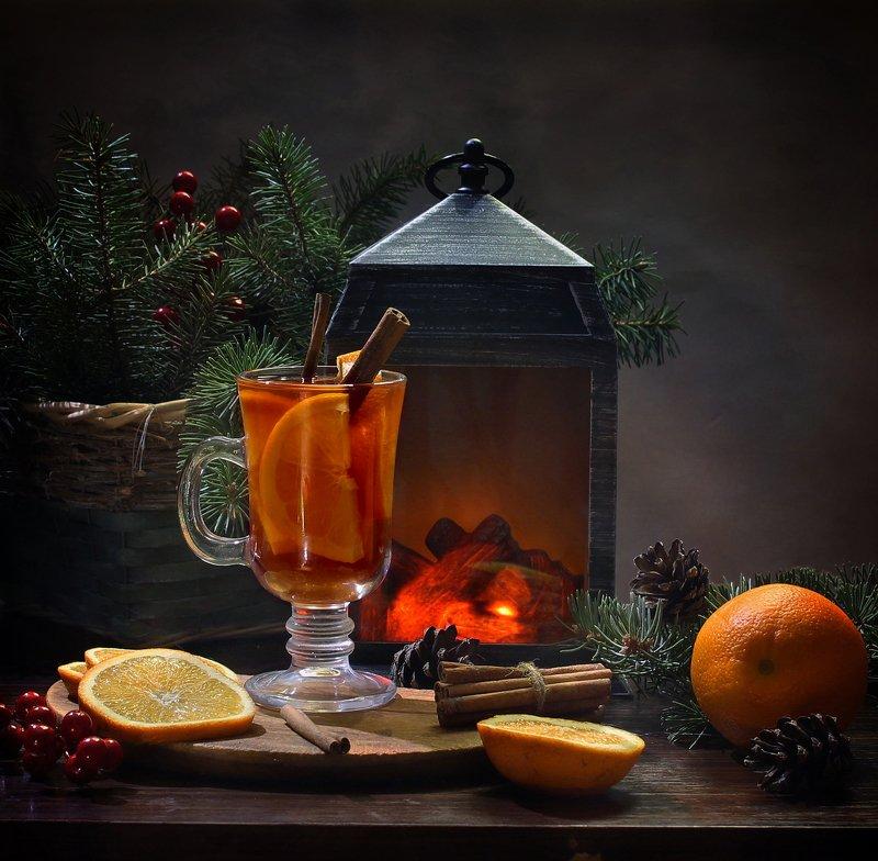 натюрморт, новый год, глинтвейн, апельсин, корица, фонарик, камеленк Глинтвейнphoto preview