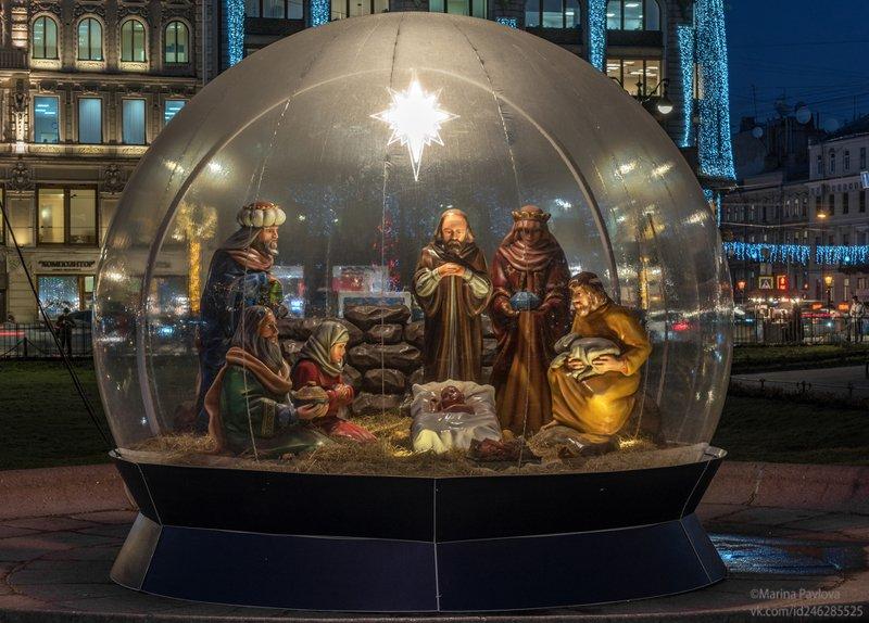 город, архитектура, санкт-петербург, вечерний петербург, рождество христово, рождественский вертеп, казанский сквер С Рождеством Христовым!photo preview