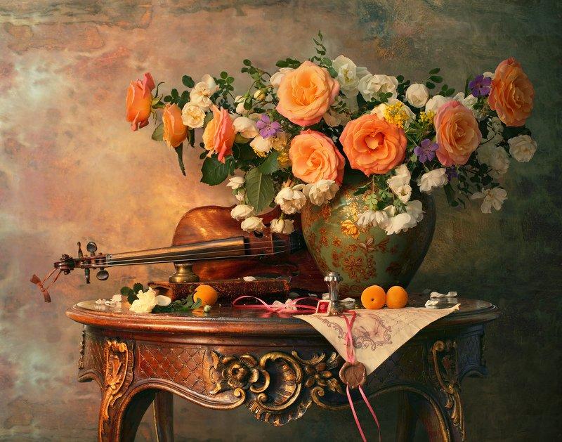 цветы, розы, скрипка, музыка, натюрморт, фрукты, абрикосы Натюрморт со скрипкой и цветамиphoto preview