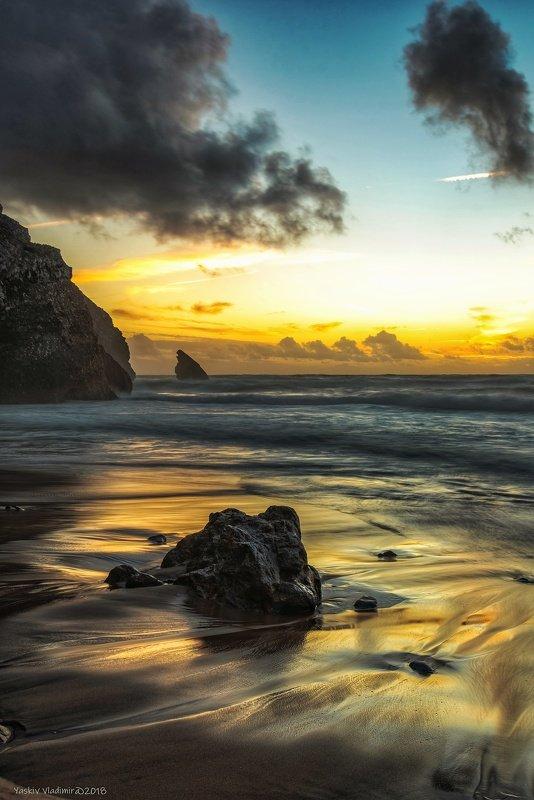 португалия, пляж, океан, атлантический океан, вода, закат На закатеphoto preview