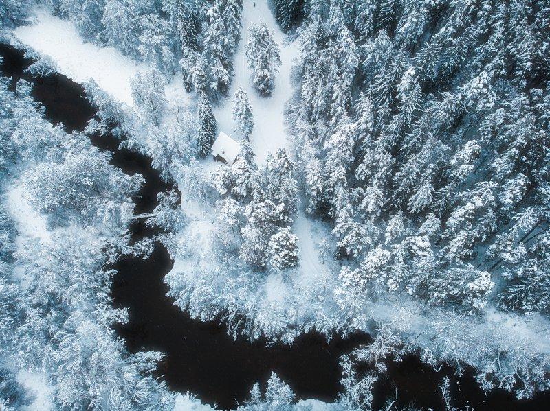landscape,winter,snow,nature,drone,beautiful Frozen river all aroundphoto preview