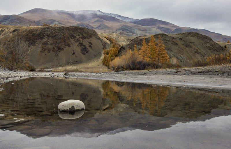 вода, отражение, деревья, горы, осень *** фото превью