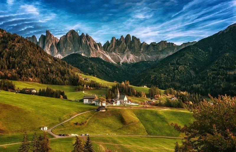 италия, санта-мадаленна, доломиты, альпы, осень, горы, деревня, Альпийская деревняphoto preview
